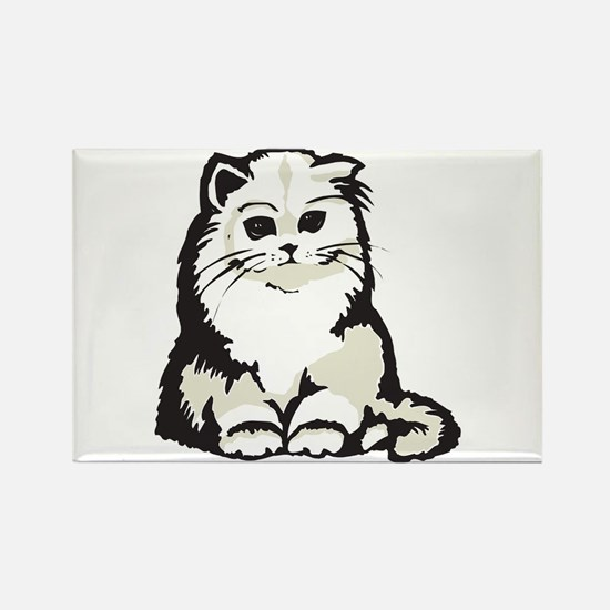 Cute White Persian Kitten Rectangle Magnet