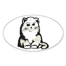 Cute White Persian Kitten Oval Decal