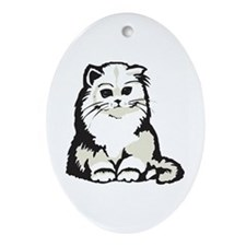 Cute White Persian Kitten Oval Ornament