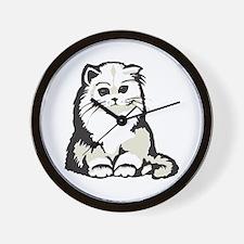 Cute White Persian Kitten Wall Clock