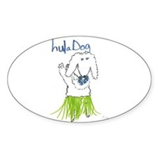 Hula Dog Oval Decal