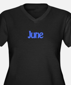 June Blue Women's Plus Size V-Neck Dark T-Shirt