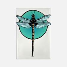 Teal Dragonfly Rectangle Magnet