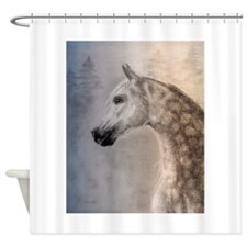Gray Arabian Horse Head Shower Curtain