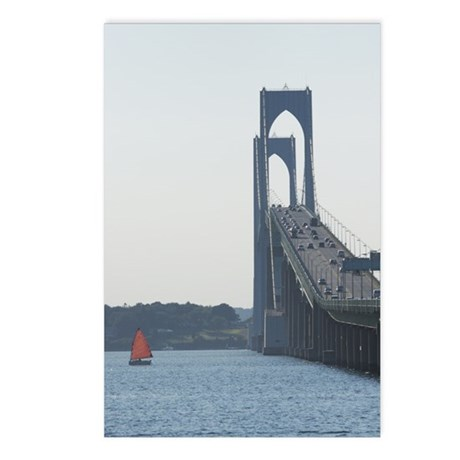 Red Sail, Pell Bridge, Newport, RI Postcards (Pack