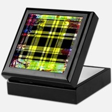 RED YELLOW BLUE PLAID BLACK Keepsake Box