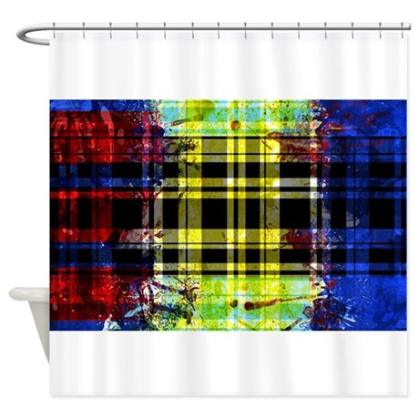 RED YELLOW BLUE PLAID BLACK Shower Curtain By Admin