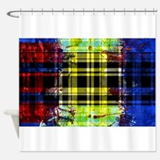 RED YELLOW BLUE PLAID BLACK Shower Curtain