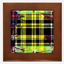 RED YELLOW BLUE PLAID BLACK Framed Tile