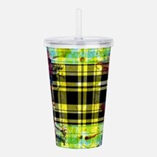 RED YELLOW BLUE PLAID Acrylic Double-wall Tumbler
