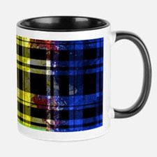 RED YELLOW BLUE PLAID BLACK Mugs