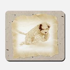 Sepia Portuguese Water Dog Pu Mousepad