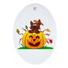 Pumpkin Surprise Oval Ornament