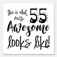 """Awesome 55 Years Old Square Car Magnet 3"""" x 3"""""""