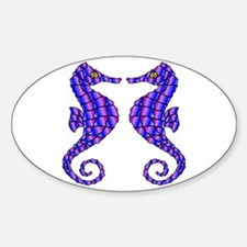 2 Beautiful Seahorses Oval Decal