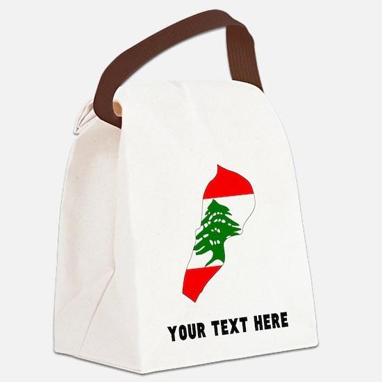 Lebanese Flag Silhouette (Custom) Canvas Lunch Bag
