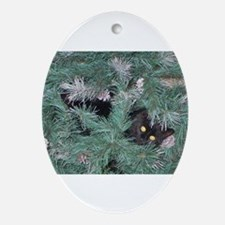 Black Cat in Christmas Tree Oval Ornament
