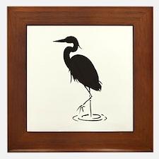 Heron Silhouette Framed Tile