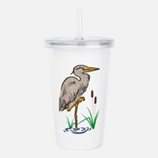 Heron In Marsh Acrylic Double-wall Tumbler