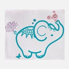 Cute Baby Elephant Illustration Throw Blanket
