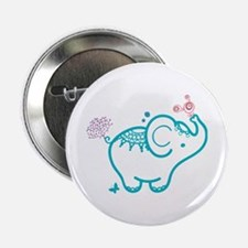 "Cute Baby Elephant Illustration 2.25"" Button"