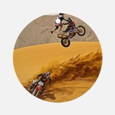 Motocross Riders Riding Sand Dunes Round Ornament