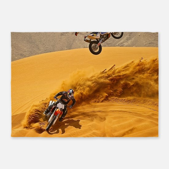 Motocross Riders Riding Sand Dunes 5'x7'Area Rug