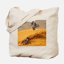Motocross Riders Riding Sand Dunes Tote Bag