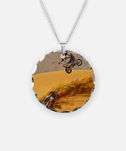 Motocross Riders Riding Sand Dunes Necklace