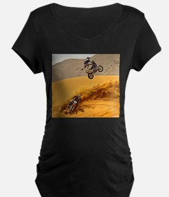 Motocross Riders Riding Sand Dunes Maternity T-Shi