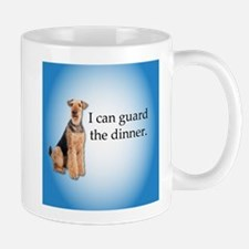 Airedale Terrier Offering to guard Dinner Mugs