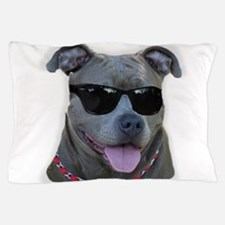 Pitbull in sunglasses Pillow Case