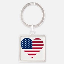 Cute God bless usa Square Keychain