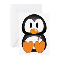 Breast Cancer Penguin Greeting Cards (Pk of 10)