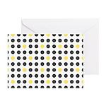 Mod Black Polka Dots Greeting Card