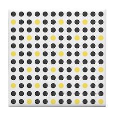 Mod Black Polka Dots Tile Drink Coaster