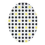 Mod Black Polka Dots Oval Ornament