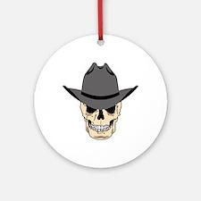 Cowboy Skull Round Ornament