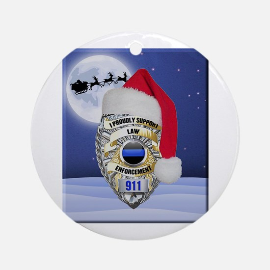 Law Enforcement Support Christmas Round Ornament