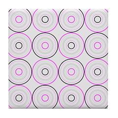 Pink & Black Retro Tile Drink Coaster