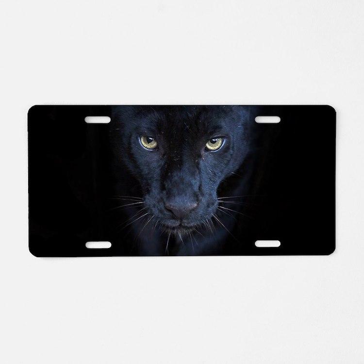Black Panther Aluminum License Plate