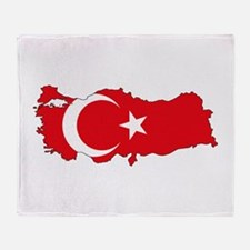 Turkish Flag Silhouette Throw Blanket