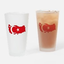 Turkish Flag Silhouette Drinking Glass