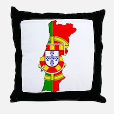 Portuguese Flag Silhouette Throw Pillow