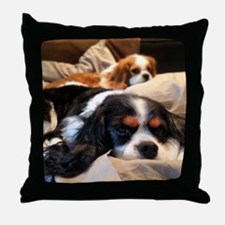 Funny Cavalier king charles spaniel paintings Throw Pillow