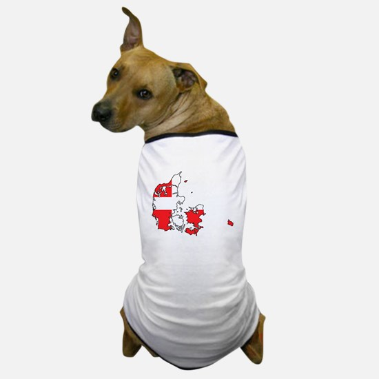 Danish Flag Silhouette Dog T-Shirt