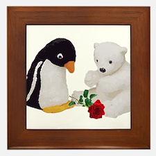 Penguin Polar Bear Rose Framed Tile