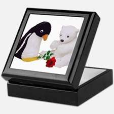Penguin Polar Bear Rose Keepsake Box