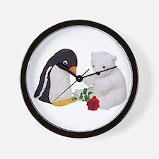 Penguin Polar Bear Rose Wall Clock