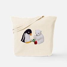 Penguin Polar Bear Rose Tote Bag